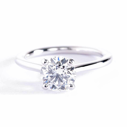 1 Ct SI2 F Round Brilliant Cut Petite Solitaire Engagement Rings 18K-White Gold