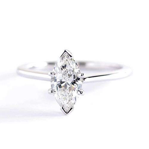 1 Ct Si2 G Marquise Cut Petite Solitaire Engagement Rings 18K-White Gold
