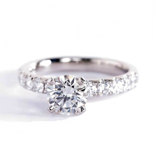 1.75 Cts SI2 G Round Brilliant Cut French Pave Engagement Rings 18K-White Gold