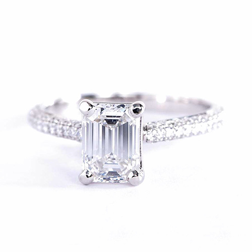1.4 Cts VS1 F Emerald Cut Three Row Micro Pave Engagement Rings  18K-White Gold