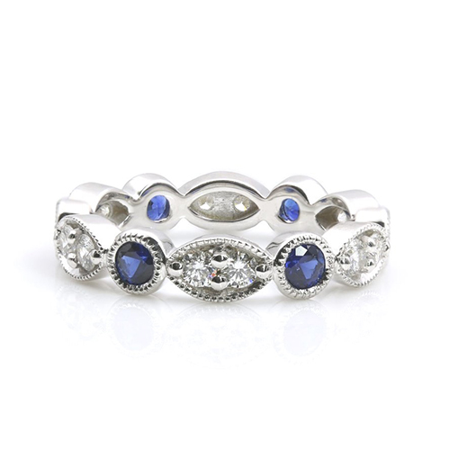 0.52 ct Blue Sapphire Full Eternity Diamond Wedding Wedding Rings 18K-White Gold