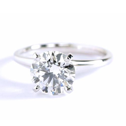 1.5 Cts SI2 I Round Brilliant Cut Contemporary Solitaire Engagement Rings 18K-White Gold