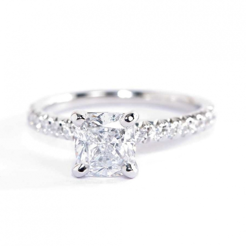 1.3 Cts Si2 I Cushion Cut French Pave Engagement Rings 18K-White Gold