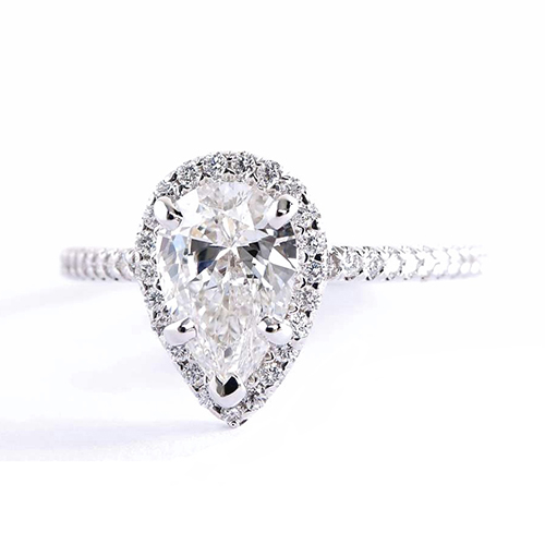1.4 Cts SI2 H Pear Cut Vintage Halo Engagement Rings 18K-White Gold
