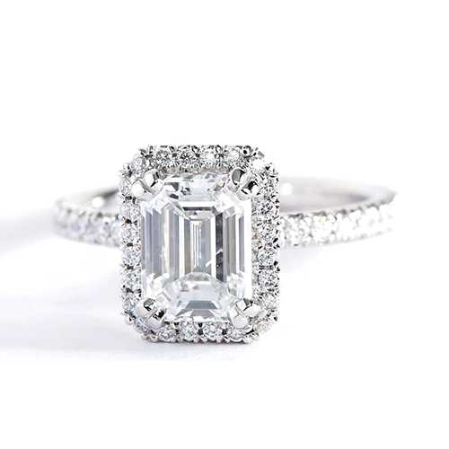 1.7 Cts Si1 G Emerald Cut Double Prong Halo Engagement Rings 18K-White Gold