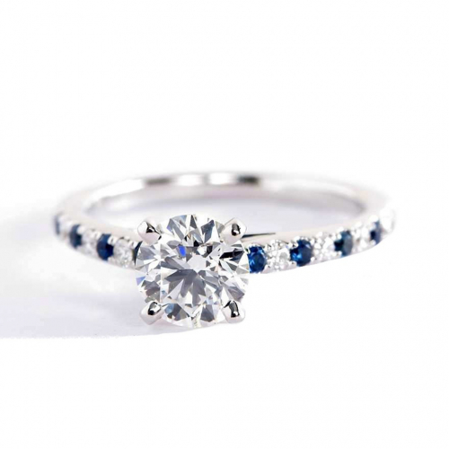 1.45 Cts SI1 H Round Brilliant Cut Blue Sapphire Pave Engagement Rings 18K-White Gold