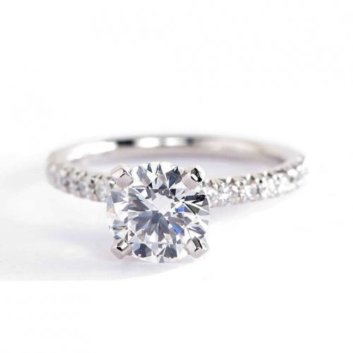 1.75 Cts SI2 H Round Brilliant Cut French Pave Engagement Rings 18K-White Gold