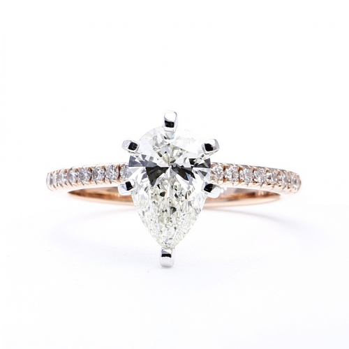 1.95 Cts J VS1 Pear Cut French 6 Prong Diamond Engagement Ring In 18k Rose Gold