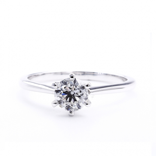1 Ct F VS2 Round Brilliant Cut Petite Diamond Solitaire Engagement Ring 18K-White Gold